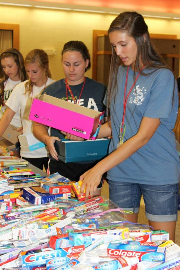Another service project- Creating personal hygiene boxes for those in various half-way houses.